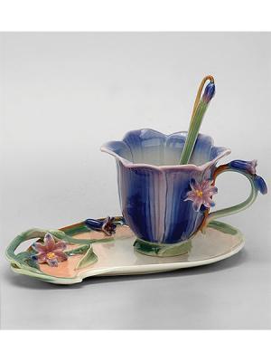 Чайная пара Колокольчик Pavone. Цвет: голубой, зеленый