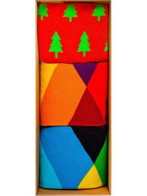 Набор Канадский лес (3 пары в коробке), дизайнерские носки SOXshop. Цвет: зеленый, красный