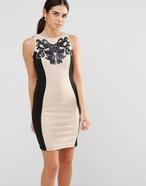 Laced In Love Облегающее платье со вставками. Цвет: черный