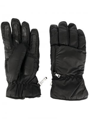Перчатки с молниями Prada. Цвет: чёрный