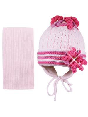 Шапка и шарф Grans. Цвет: бледно-розовый
