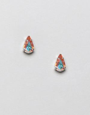 Krystal London Серьги-гвоздики с кристаллами Swarovski грушевидной формы Lond. Цвет: золотой