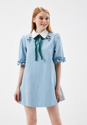 Платье джинсовое Sister Jane. Цвет: голубой