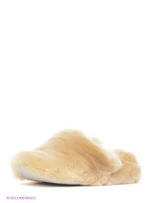 Тапочки натуральный мех Skap. Цвет: бежевый