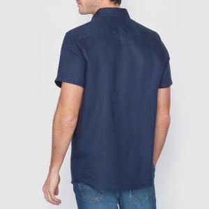 Рубашка прямого покроя с короткими рукавами, 100% лен La Redoute Collections. Цвет: оранжевый меланж