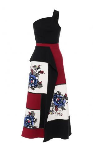 Приталенное платье-миди с открытым плечом Roland Mouret. Цвет: разноцветный