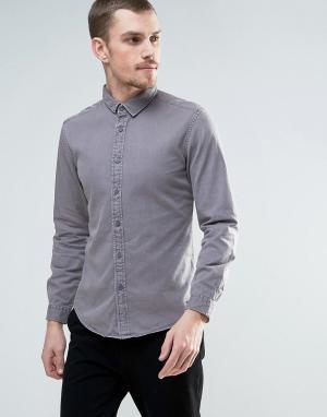 Esprit Серая выбеленная джинсовая рубашка. Цвет: синий