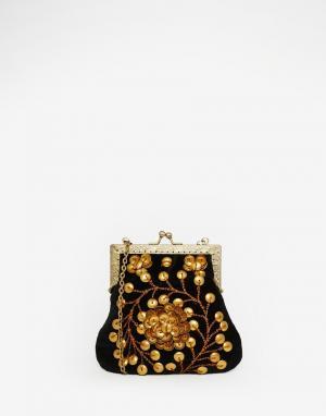 Moyna Бархатный клатч с металлическими бусинами. Цвет: черный
