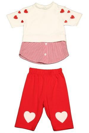 Комплект: футболка, бриджи Kidly. Цвет: бело-красный