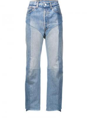 Contrast panel straight leg jeans Vetements. Цвет: синий