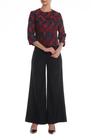 Костюм: жакет, брюки Adzhedo. Цвет: темно-синий, красный, цветы