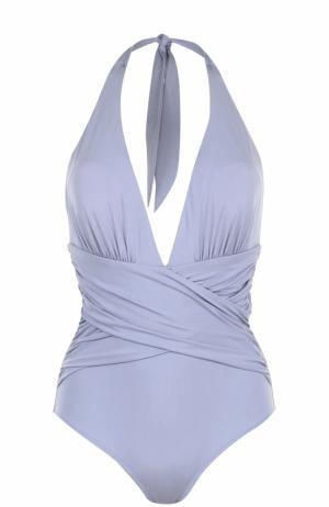 Слитный купальник с открытой спиной и драпировкой Lazul. Цвет: фиолетовый