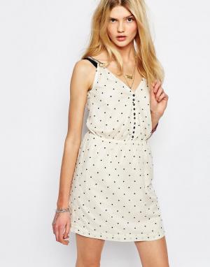 Sessun Кремовое платье мини в горошек. Цвет: кремовый