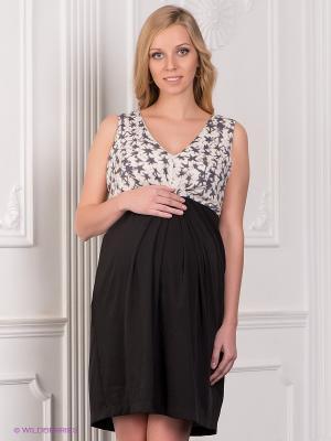 Платье Mama Licious. Цвет: черный, молочный