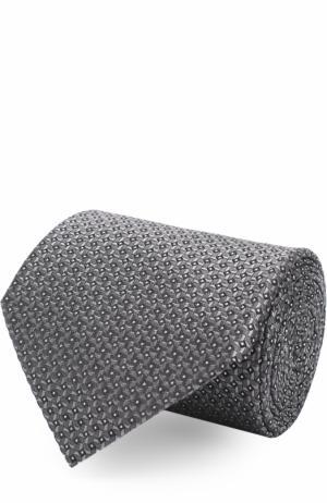 Шелковый галстук с узором Lanvin. Цвет: светло-серый