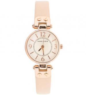 Часы с браслетом из натуральной кожи бежевого цвета Anne Klein