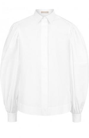 Однотонная хлопковая блуза с объемными рукавами Alaia. Цвет: белый