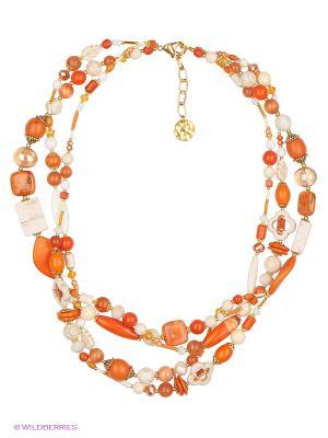 Колье Роман с камнем. Цвет: оранжевый, белый, золотистый