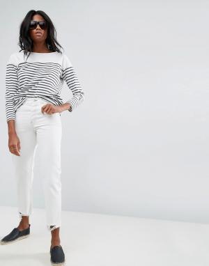 ASOS Бежевые джинсы прямого кроя FLORENCE. Цвет: белый