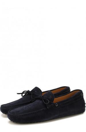 Замшевые мокасины на шнуровке Tod's. Цвет: синий