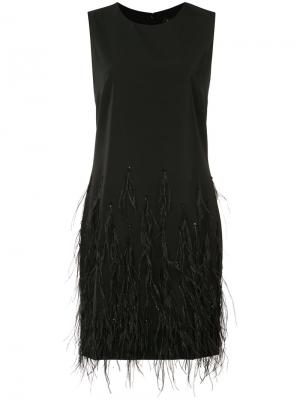 Короткое платье с отделкой перьями Saloni. Цвет: чёрный