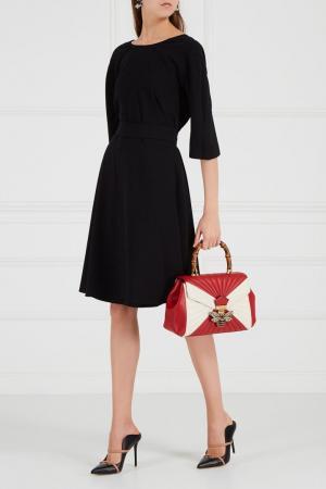 Расклешенное платье с поясом Adolfo Dominguez. Цвет: черный