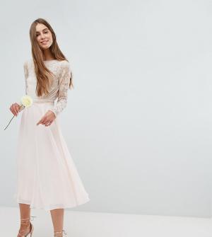 Amelia Rose Tall Платье миди с длинными рукавами и глубоким вырезом на спине Ros. Цвет: розовый