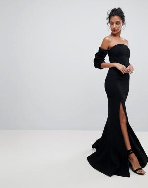 C/meo Collective Платье с открытыми плечами и разрезом. Цвет: черный