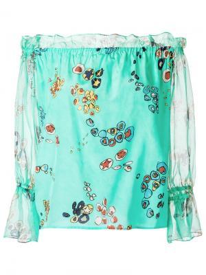 Шелковая блузка с принтом Isolda. Цвет: синий