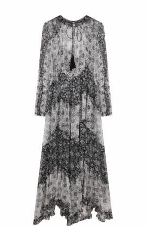 Шелковое платье-миди свободного кроя Zimmermann. Цвет: черно-белый