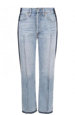 Укороченные джинсы с лампасами и потертостями Citizens Of Humanity. Цвет: голубой