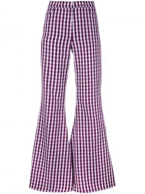 Расклешенные брюки в клетку гингем House Of Holland. Цвет: розовый и фиолетовый
