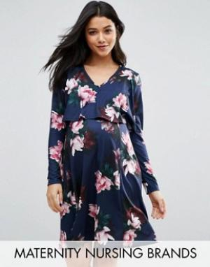 Bluebelle Maternity Двухслойное платье для беременных и кормящих мам. Цвет: темно-синий