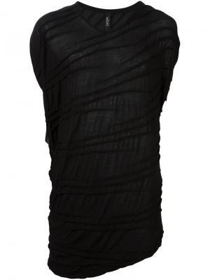 Драпированная футболка без рукавов Tom Rebl. Цвет: чёрный