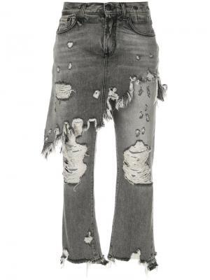 Состаренные джинсы с эффектом юбки R13. Цвет: серый