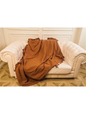 Покрывало-плед Лотос коричневый 100% хлопок Корона. Цвет: коричневый