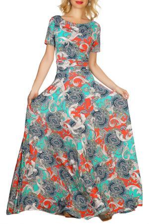 Платье Olivegrey. Цвет: бирюзово-лососевый