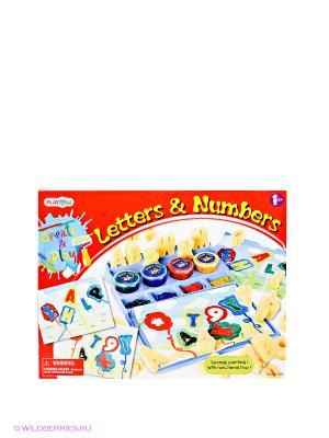 Игровой набор для рисования Буквы и числа PlayGo. Цвет: красный, желтый, синий