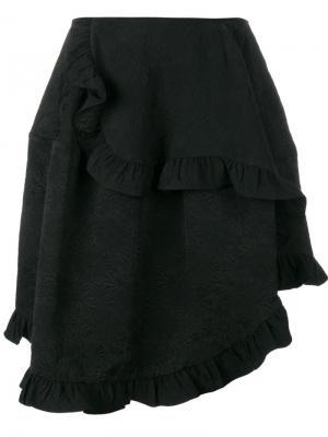 Асимметричная юбка с оборками Simone Rocha. Цвет: чёрный