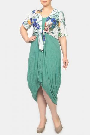 Комплект: платье, болеро STF. Цвет: зеленый