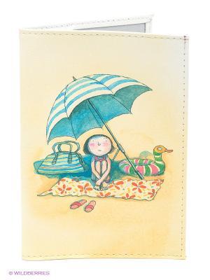 Обложка для паспорта Девочка на пляже под зонтом Mitya Veselkov. Цвет: светло-желтый