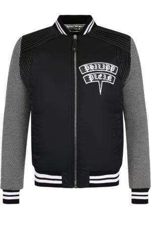 Куртка-бомбер с принтом и нашивками Philipp Plein. Цвет: черно-белый