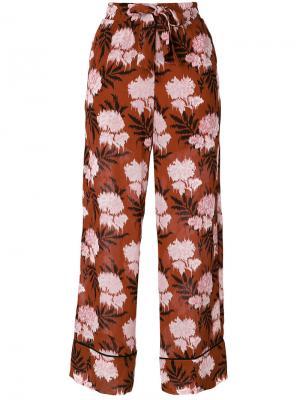 Широкие брюки с принтом Ganni. Цвет: коричневый