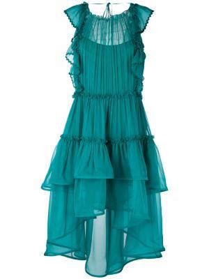 Ruffled layered sheer dress Alberta Ferretti. Цвет: зелёный