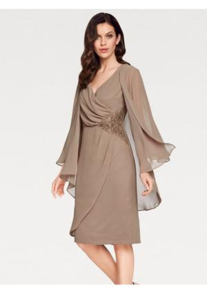 Комплект: платье + блузка ASHLEY BROOKE by Heine. Цвет: серо-коричневый
