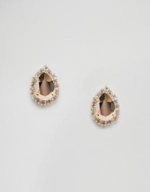 Krystal Серьги грушевидной формы с кристаллами Swarovski Rosetta. Цвет: золотой