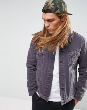 ASOS Фиолетовая выбеленная джинсовая куртка. Цвет: фиолетовый