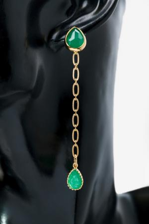 Серьги Изумруд Beatrici Lux. Цвет: зеленый