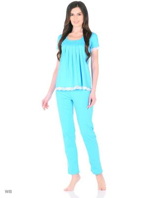 Домашний костюм ( футболка, брюки) HomeLike. Цвет: голубой