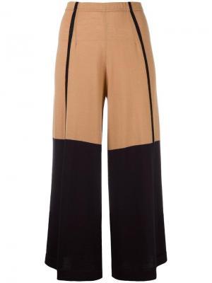 Укороченные брюки с контрастными вставками Circus Hotel. Цвет: телесный